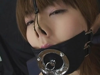 Chinese nymph ball-gagged and inhale..