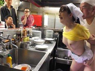 Mimi Asuka fucked in a restaurant in..