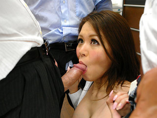 Office woman China Mimura  in gang-fuck