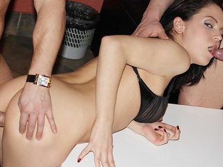 Saucy black-haired lassie tackles 2..