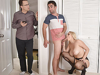 Blonde wife Vanessa takes her stepsons..