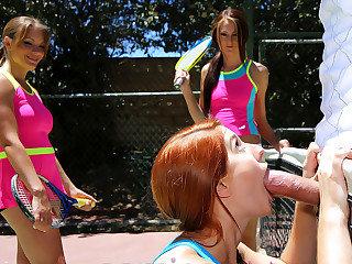 Summer camp sluts sharing one mighty..